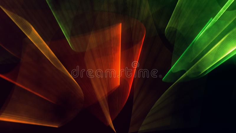 Laser neon red and green light rays flash and glow royalty free stock photography