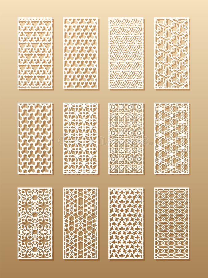 12 laser patterns for room walls in the Arabic style. Traditional oriental ornament in a rectangle for the design of a. Screen, privacy panels, a fence. Laser stock illustration