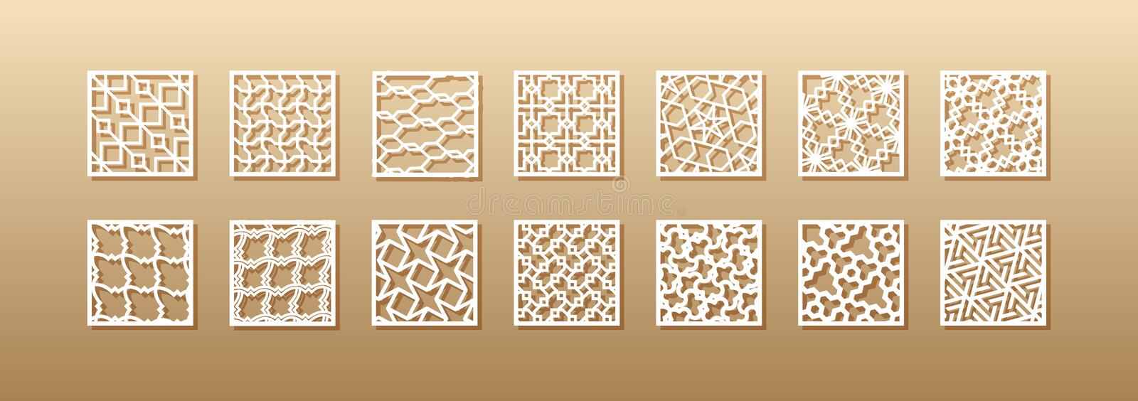 12 laser patterns for room walls in the Arabic style. Traditional oriental ornament in a rectangle for the design of a. Screen, privacy panels, a fence. Laser vector illustration