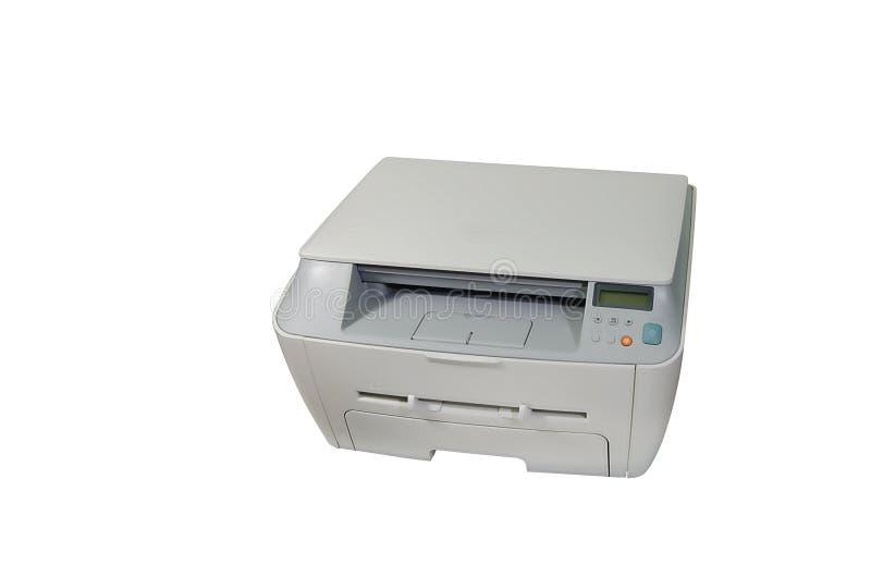 Laser printer. Big gray multifunction laser printer, scanner, xerox, isolated over white stock photos