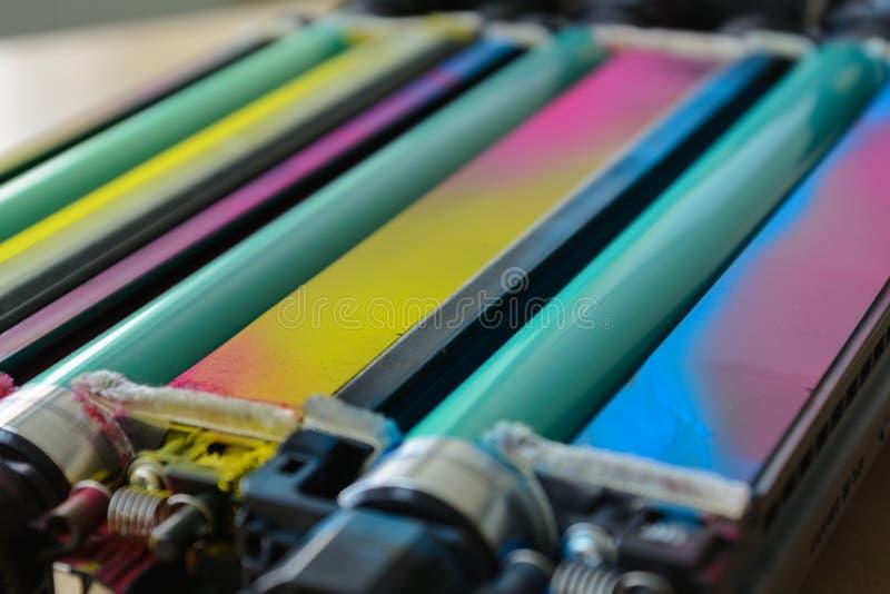 A laser printer fuser. Colorful fuser symbolize the color space of a laser printer stock image