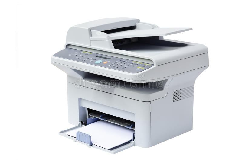 Laser printer and scanner. Grey computer laser printer isolated royalty free stock photo
