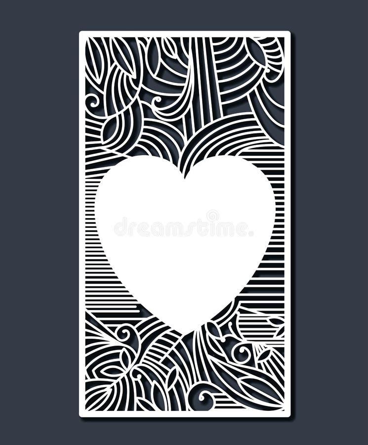 Laser que corta el marco rectangular con el corazón decorativo en fondo del color de azul de acero stock de ilustración