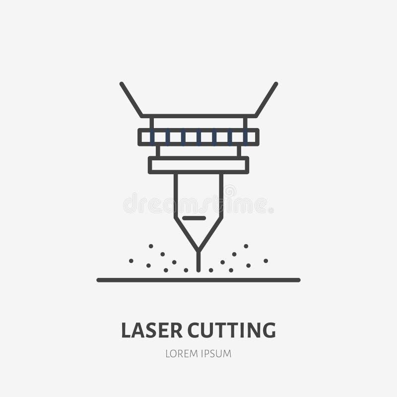 Laser que corta la línea plana icono El metal trabaja la muestra de la herramienta Logotipo linear fino para la fabricación del a ilustración del vector