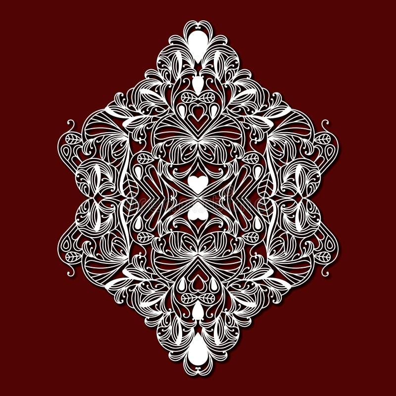 Laser que corta o design floral decorativo na obscuridade - fundo da cor vermelha ilustração do vetor