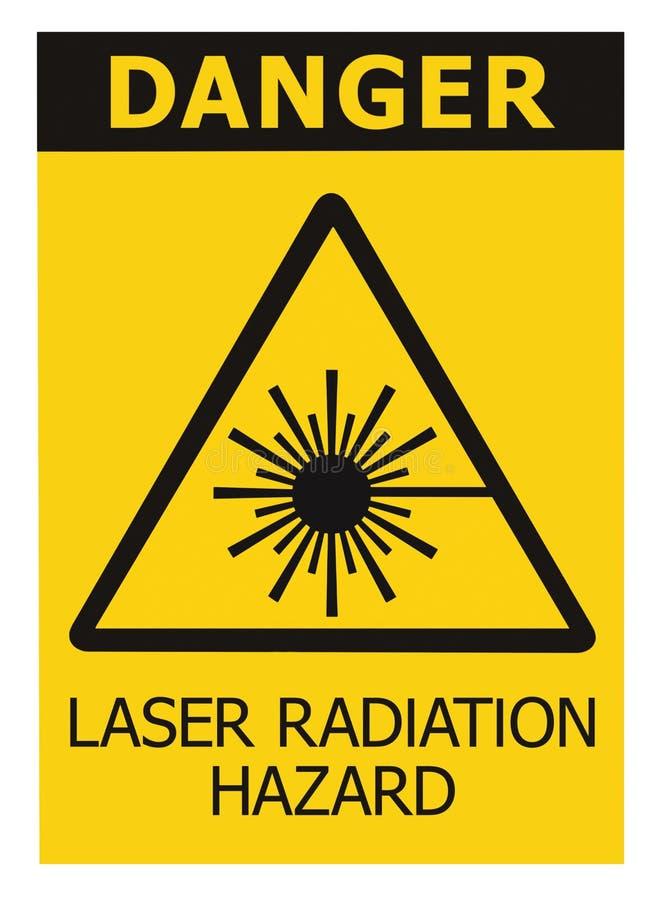 Laser radiation hazard safety danger warning text sign yellow sticker label, high power beam icon signage, isolated black triangle. Laser radiation hazard safety royalty free stock image