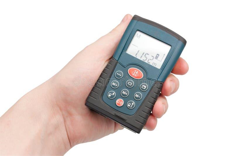Laser ruler in a hand