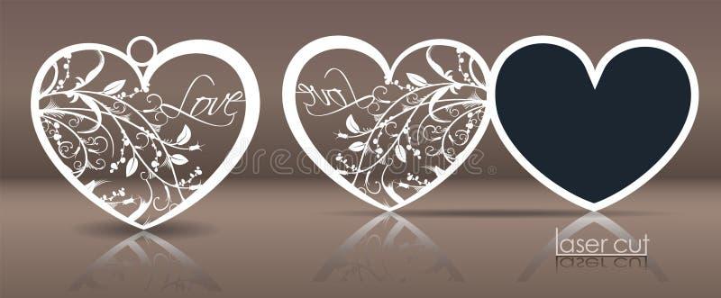 Laser-Schablone für Feiertagskarten, Einladungen und hufeisenförmige Zwischenlage mit einem Ausschnitt von stilisierten Florenele stock abbildung