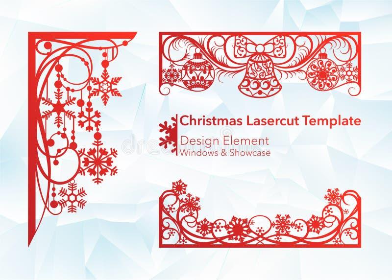Laser scherp ontwerp voor Kerstmis en Nieuwjaar Silhouetbesnoeiing Een reeks van malplaatje van hoek en horizontale elementen aan stock illustratie
