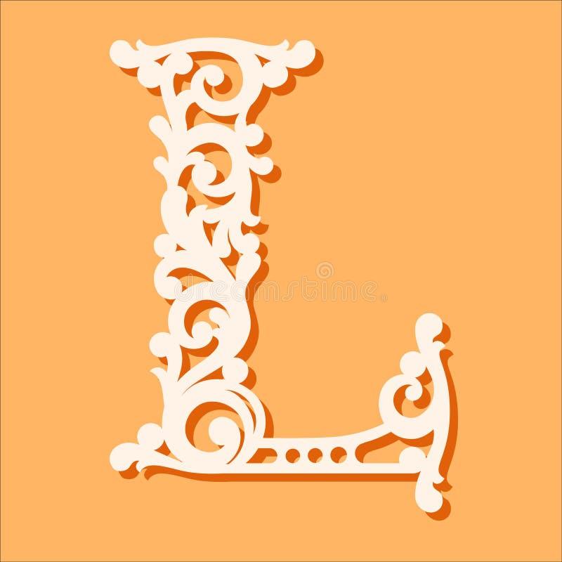 Laser-Schneideschablone Anfangsmonogrammbuchstaben Fantastischer Blumenalphabetbuchstabe stock abbildung