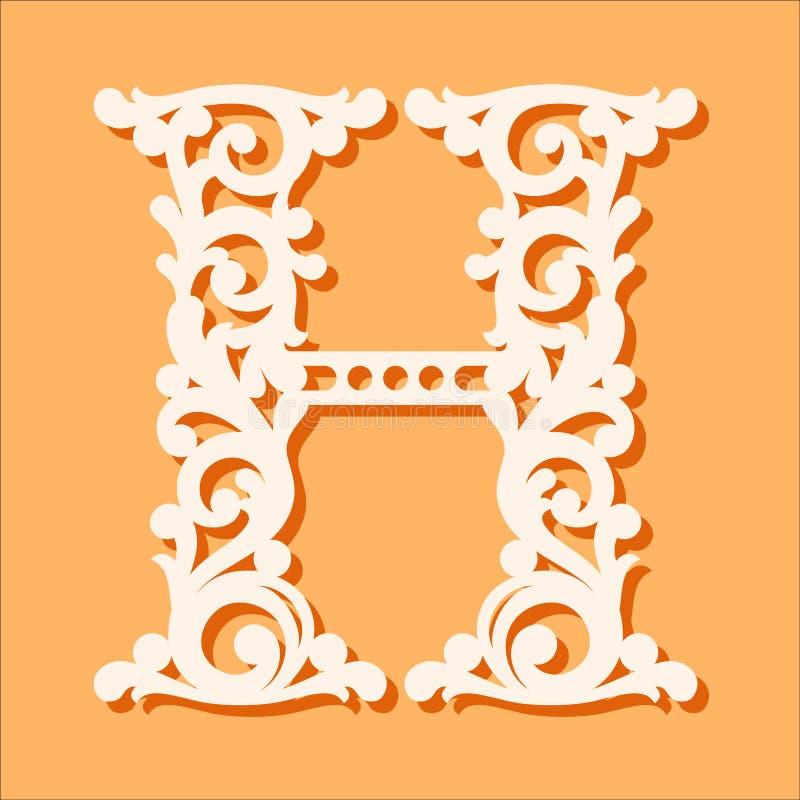 Laser-Schneideschablone Anfangsmonogrammbuchstaben Fantastischer Blumenalphabetbuchstabe vektor abbildung
