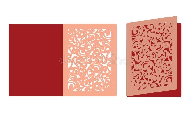 Laser-Schneideschablone Birdcage mit Vögeln im Laub Laser, der dreifachgefaltete Spitzevalentinsgrußkarte schneidet Eleganz roman vektor abbildung