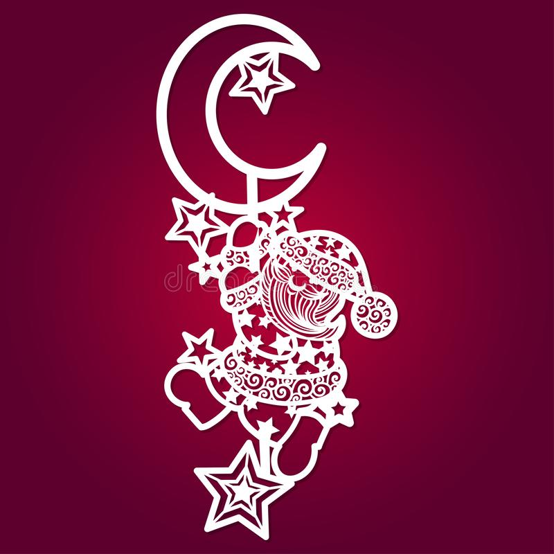 Laser-Schneideschablone Santa Claus mit Sternen und Mond stock abbildung