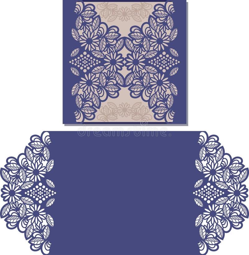 Laser schnitt Muster für Einladungskarte für die Heirat lizenzfreie abbildung