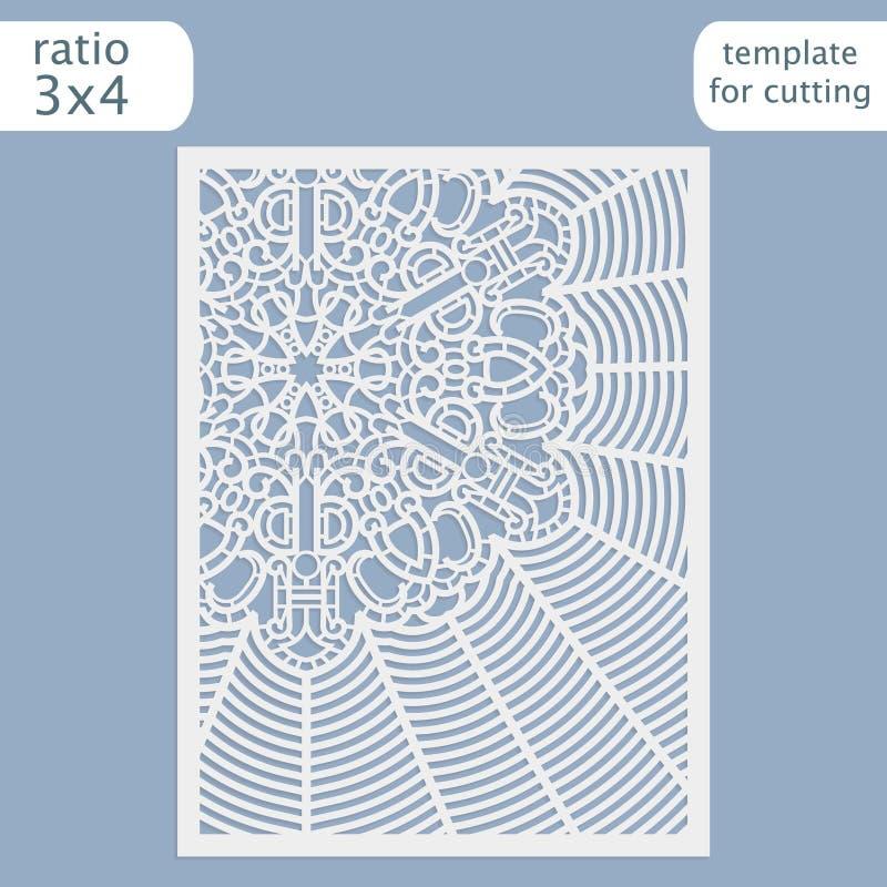 Laser-Schnitthochzeitseinladungs-Kartenschablone Schneiden Sie die Papierkarte mit Spitzemuster heraus Grußkartenschablone für de lizenzfreie abbildung