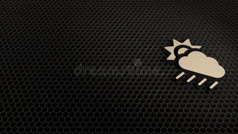 Laser-Schnittsperrholzsymbol des Wolkensonnenregens lizenzfreies stockfoto