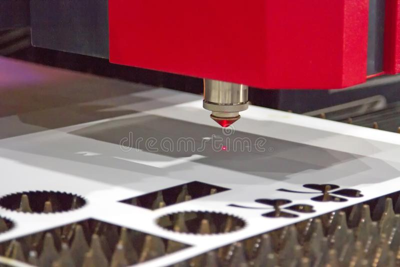 Laser sheet metal cutting machine is about to start. royalty free stock photo