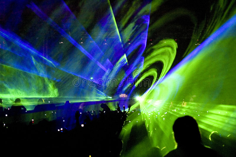 Laser show rave party stock images