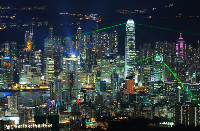 Laser show - Symphony of Lights. Laser show of Hong Kong at every night stock photography
