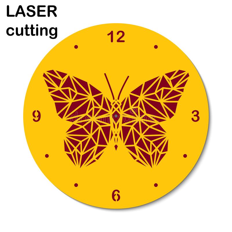 Laser-snittklocka med denpoly fjärilen för inre Bitande maskin för malllaser för trä och metall stock illustrationer