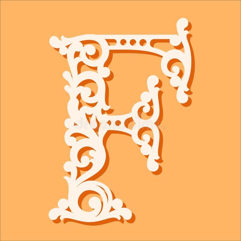 Laser-snittmall Initiala monogrambokstäver Utsmyckad blom- alfabetbokstav stock illustrationer