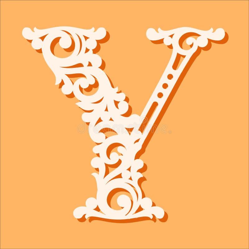 Laser-snittmall Initiala monogrambokstäver Utsmyckad blom- alfabetbokstav vektor illustrationer