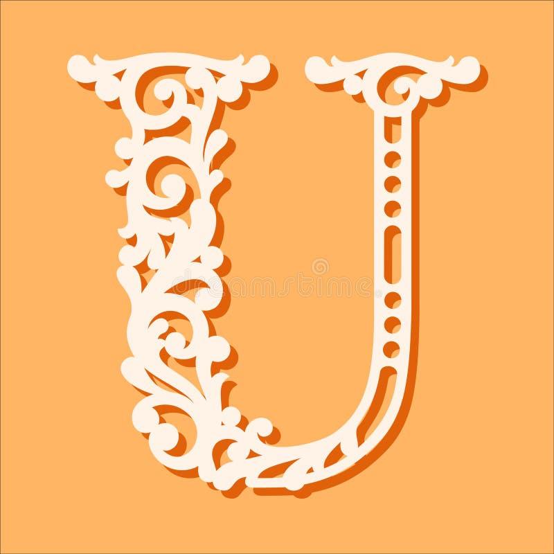 Laser-snittmall Initiala monogrambokstäver Utsmyckad blom- alfabetbokstav royaltyfri illustrationer