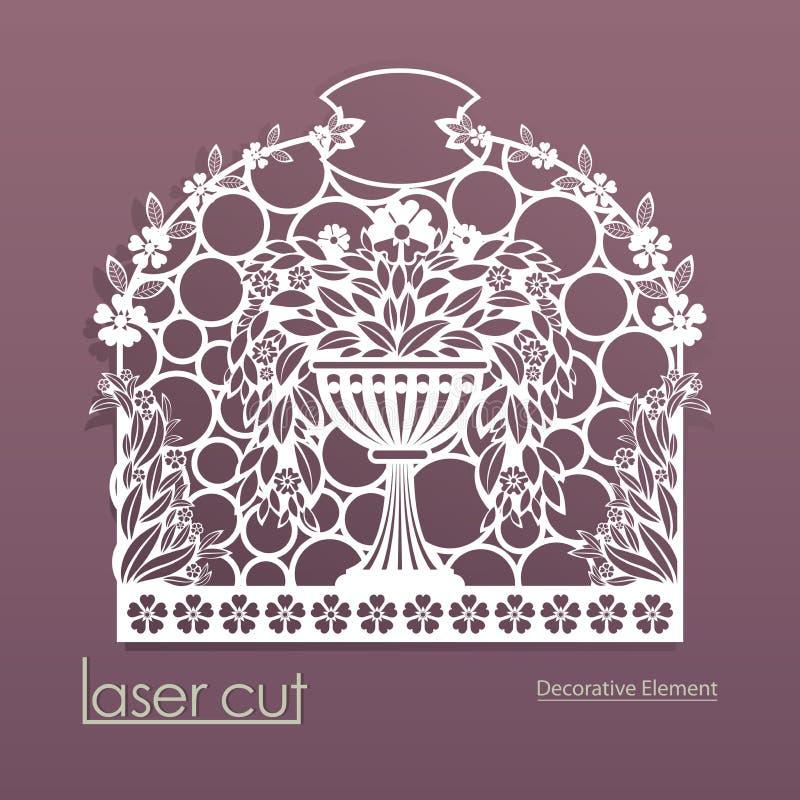 Laser-snittmodell Kuvertdesign för inbjudankort Blomkruka med blommor Vektorkontur av delikata veck av stock illustrationer