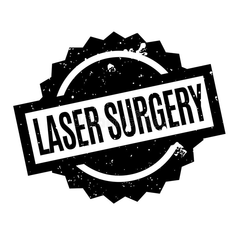 Laser Surgery rubber stamp. Grunge design with dust scratches. Effects can be easily removed for a clean, crisp look. Color is easily changed stock illustration