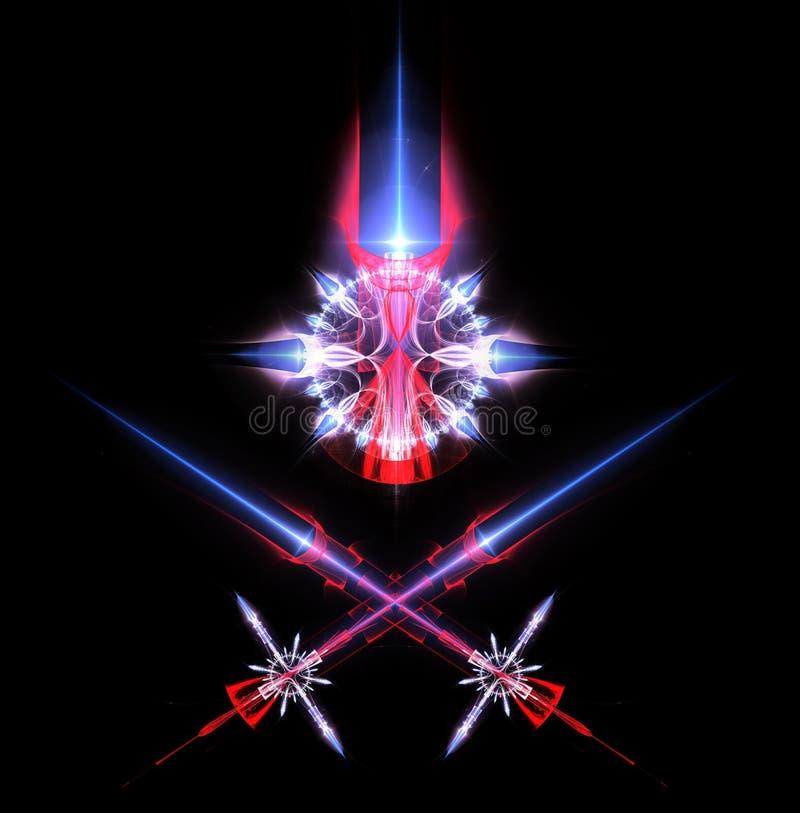 Laser swords and emblem royalty free stock image
