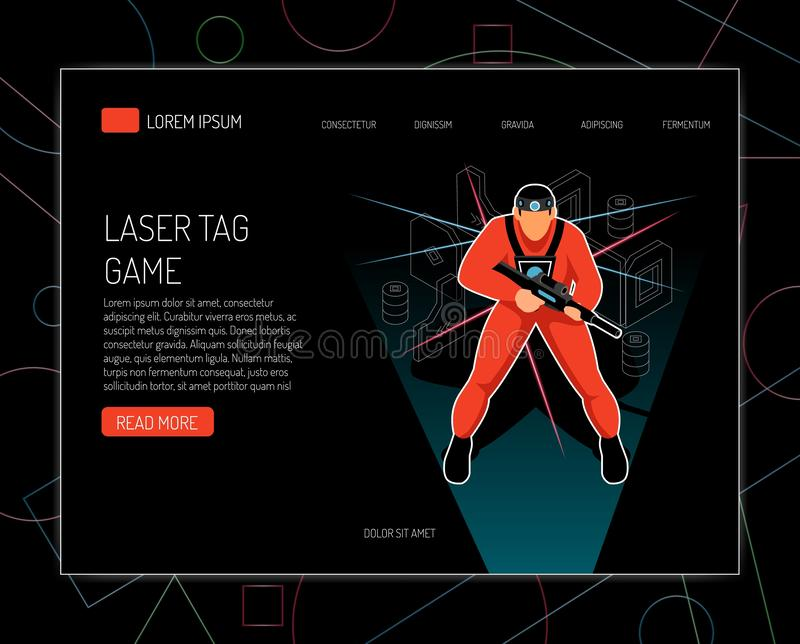Laser Tag Isometric Design. Laser tag game concept rules equipment offers isometric design with player holding gun black background vector illustration stock illustration