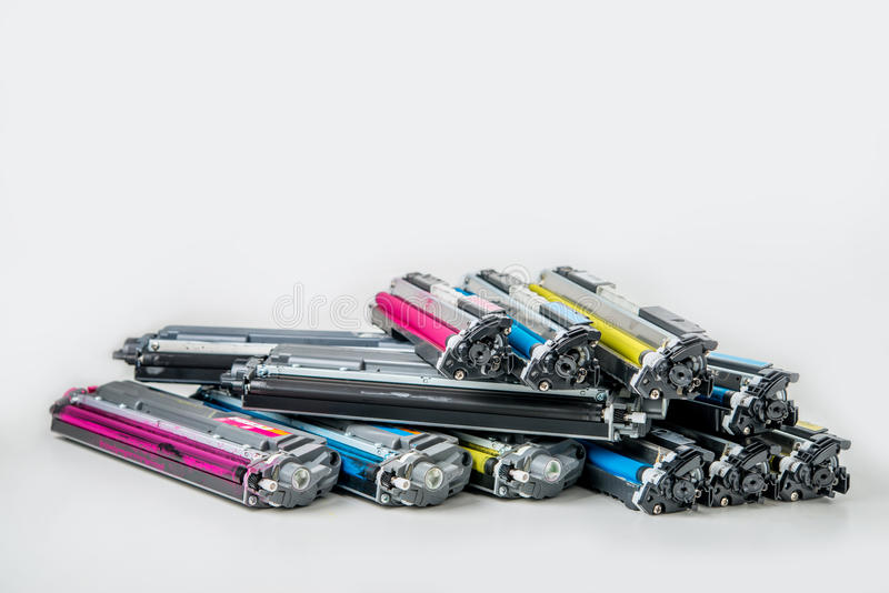 Laser toner cartridge. Used laser toner cartridge on white background royalty free stock photography