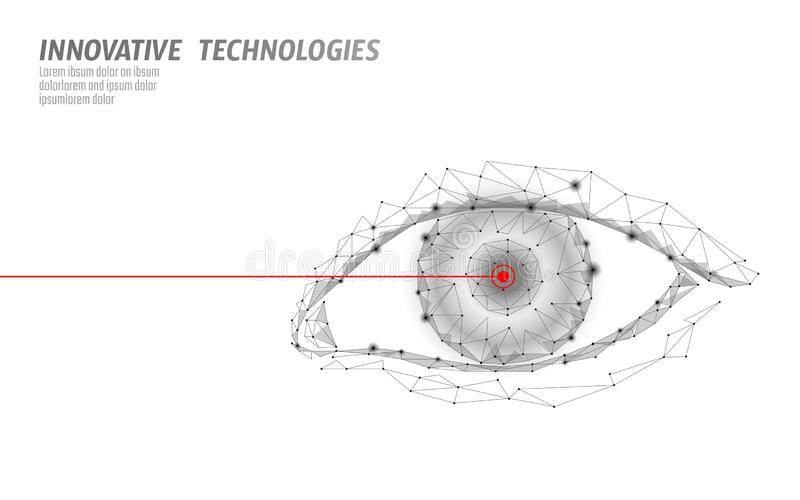 Laser vision correction 3D medical concept. Abstract human iris modern operation surgery technology low poly. Triangles vector illustration