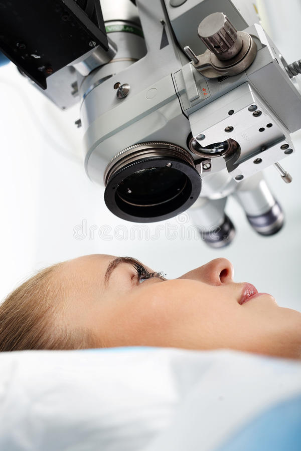 Laser vision correction. A patient in the operating room during ophthalmic surgery stock image