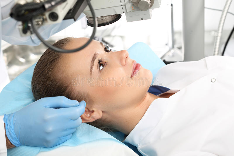Laser vision correction. A patient in the operating room during ophthalmic surgery royalty free stock image