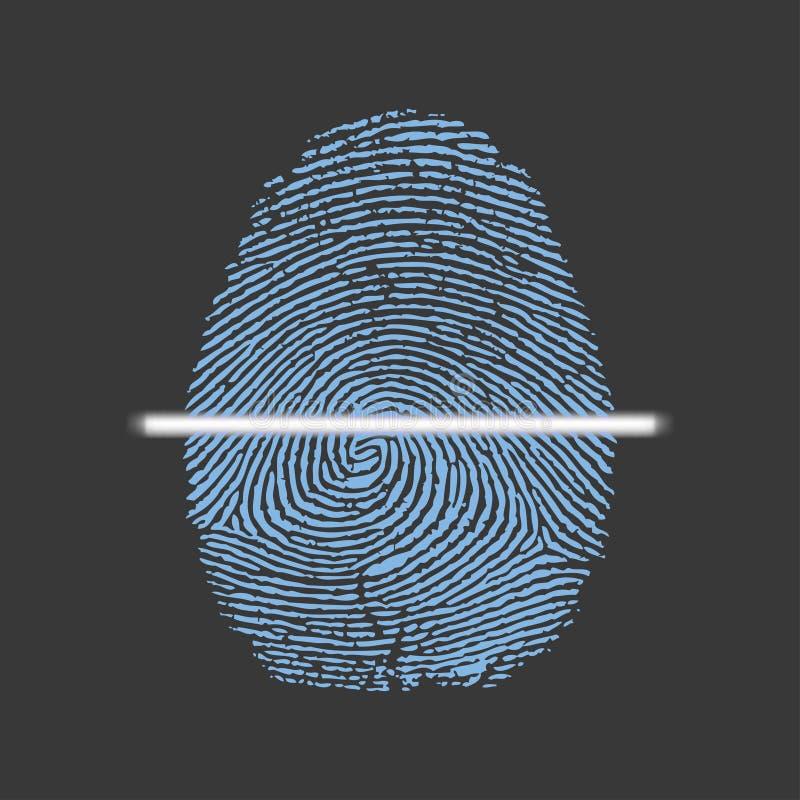 Laseraftasten van vingerafdruk, vectorillustratie van digitale biometrische veiligheidstechnologie stock illustratie