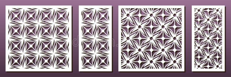Lasercut-pamsjabloon, vectorset Abstract geometrisch patroon Stencils, die voor metaalbewerking, papierkunst, fretwerk, hout vector illustratie
