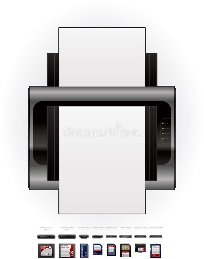 Download LaserJet Printer & Memory Cards Stock Vector - Image: 19169514