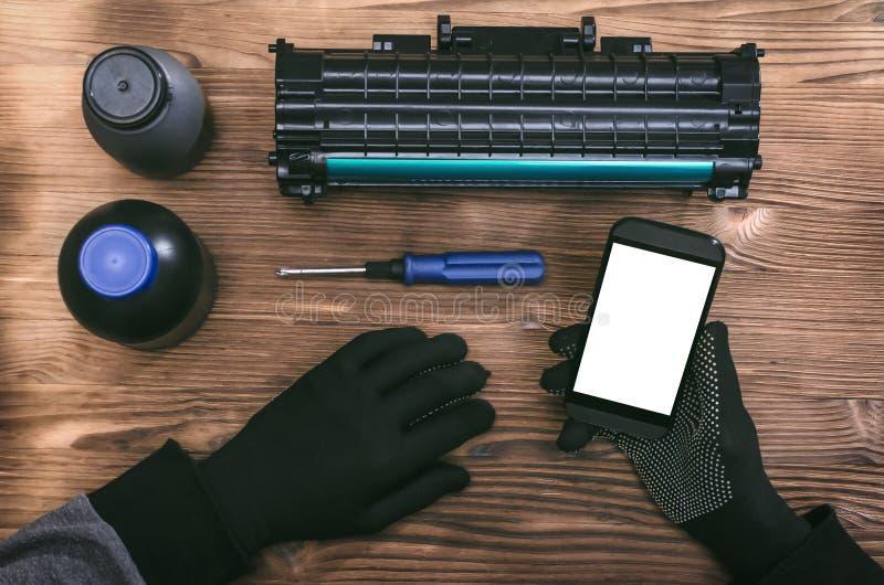 Laserowa ładownicy naprawy wezwania usługa zdjęcie royalty free