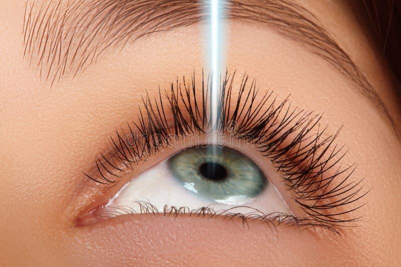 Laserowa operacja i korekcja na piękna żeńskim oku Makro- młodzi oczy z laserowymi promieniami Opieka zdrowotna i dobry wzrok zdjęcia stock