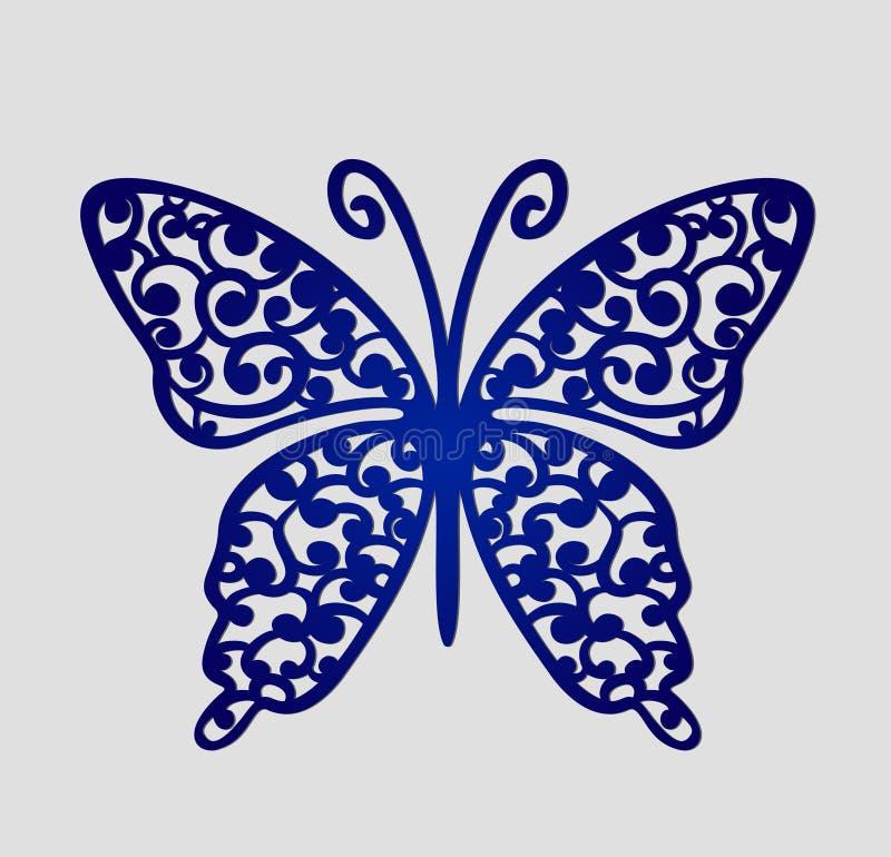 Laserowe rżnięte ślubu miejsca karty, wektorowy wycinanka motyl ilustracja wektor