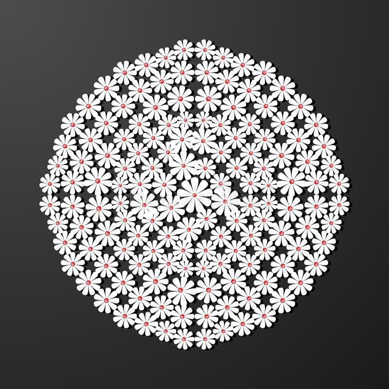 Laserowego cięcie papieru kwiatu rocznika wzoru diamentowy wektor ilustracji
