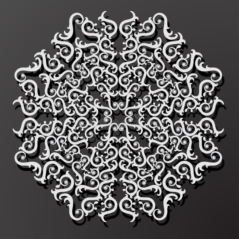 Laserowego cięcie papieru kwiatu rocznika wzoru diamentowy wektor royalty ilustracja