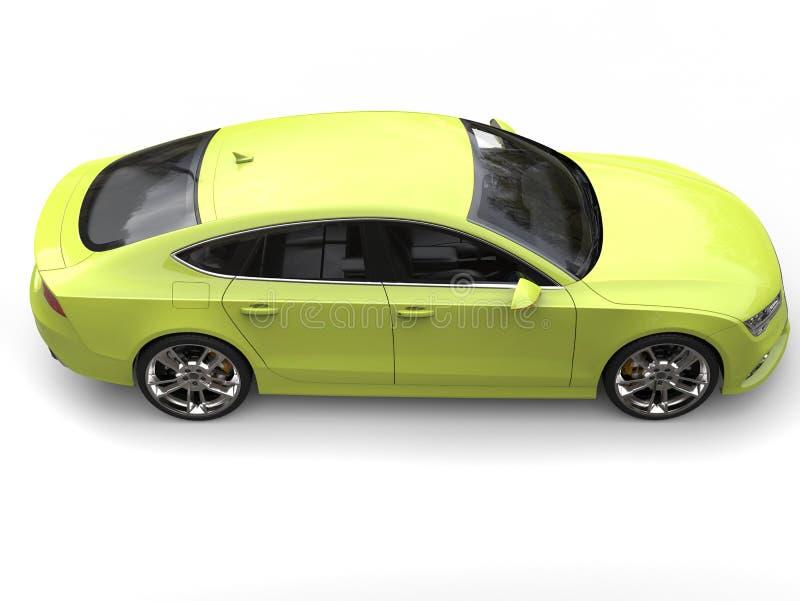 Laserowej cytryny zieleni nowożytny samochód - wysokiego kąta boczny widok royalty ilustracja