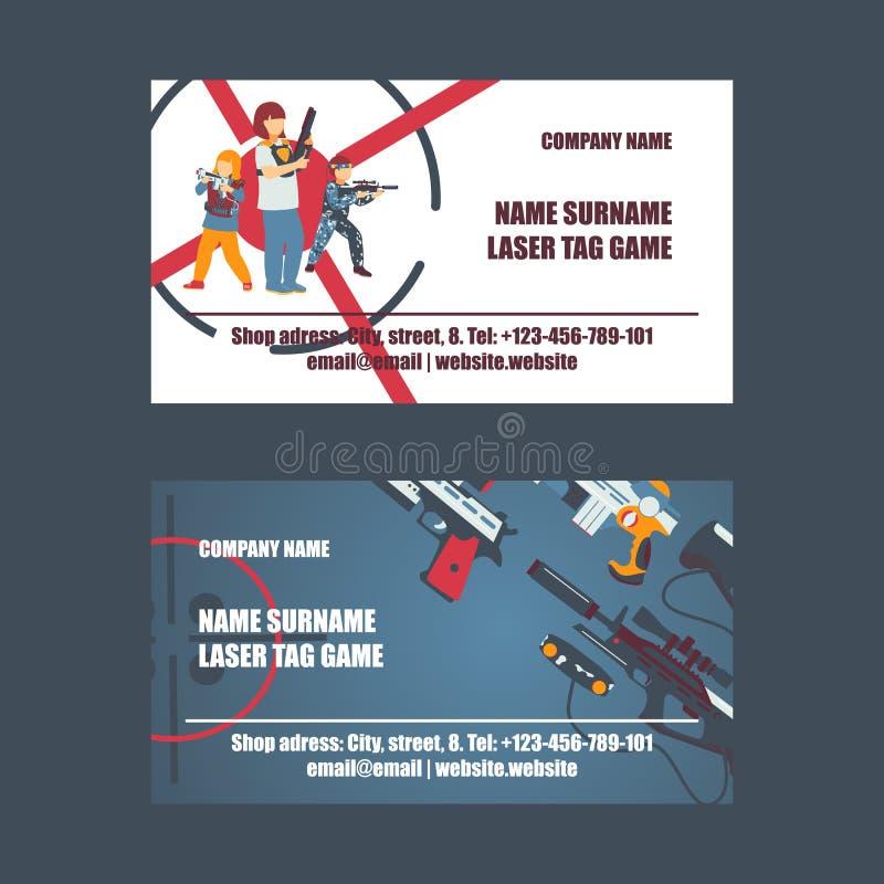 Laserowy etykietki gemowy ustawiaj?cy wizyt?wka wektoru ilustracja Pistolet, okulistyczny widok, cyngiel, kamizelka, doczepianie  royalty ilustracja