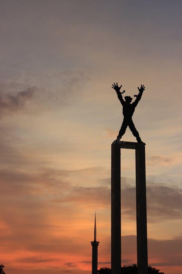 Laserowy przedstawienie w Zachodnim Papua niezależności zabytku w Dżakarta, Indonezja zdjęcie stock