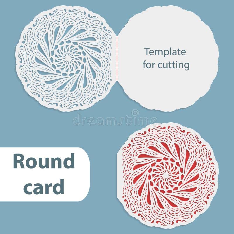 Laserowy rżnięty ślubny round karty szablon, papierowy openwork kartka z pozdrowieniami, szablon dla ciie, koronkowego zaproszeni ilustracji