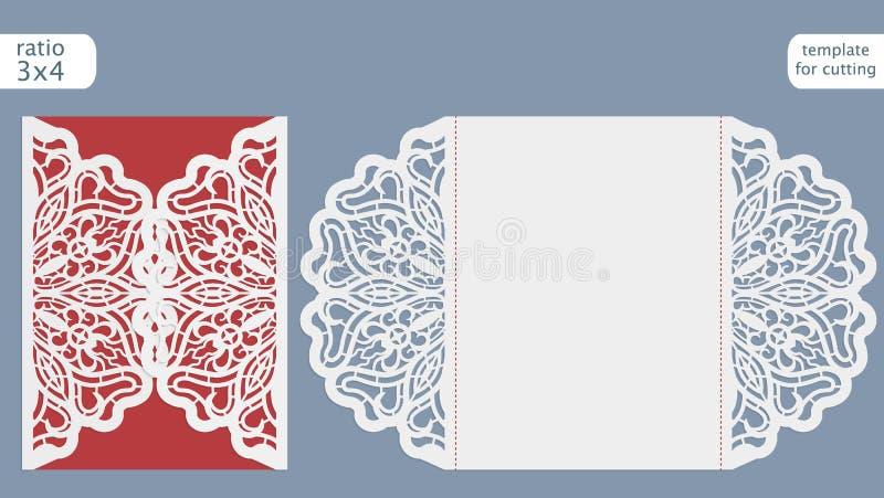 Laserowy rżnięty ślubny zaproszenie karty szablon Ciie out papierową kartę z koronka wzorem Kartka z pozdrowieniami szablon dla t ilustracji