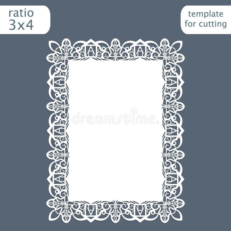 Laserowy rżnięty ślubny zaproszenie karty szablon z openwork granicą Ciie out papierową kartę z koronka wzorem Kartka z pozdrowie ilustracji
