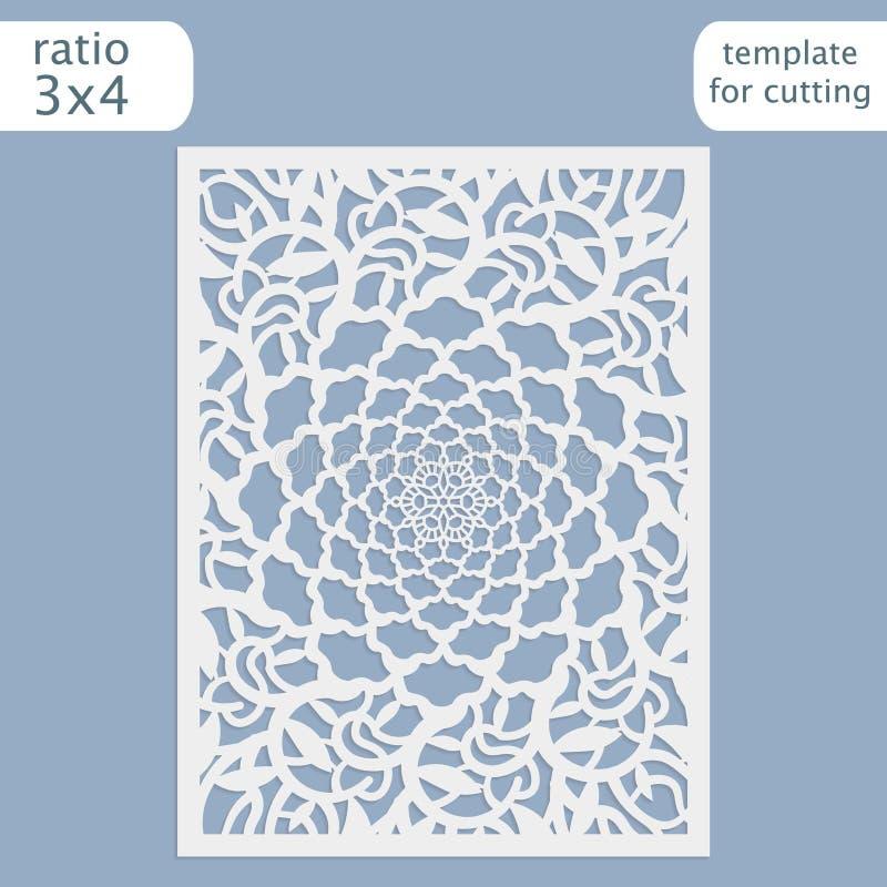 Laserowy rżnięty ślubny zaproszenie karty szablonu wektor Ciie out papierową kartę z koronka wzorem Kartka z pozdrowieniami szabl royalty ilustracja